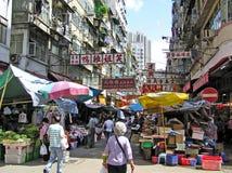De markt van de straat in Hongkong stock afbeeldingen