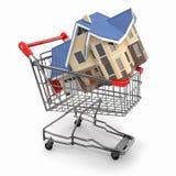 De markt van het bezit. Huis in boodschappenwagentje stock illustratie