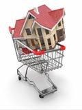 De markt van het bezit. Huis in boodschappenwagentje vector illustratie