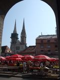 De Markt van het fruit in Zagreb Stock Fotografie