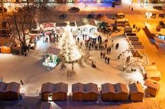 De Markt van Kerstmis in Litomerice, Tsjechische Republiek Stock Foto's