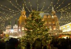 De markt van Kerstmis in Moskou Stock Afbeeldingen