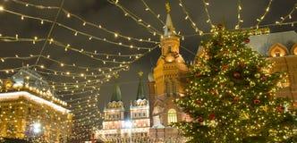 De markt van Kerstmis in Moskou Stock Fotografie