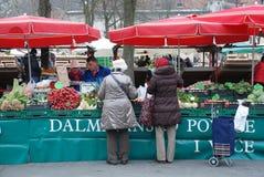 De Markt van Ljubljana in December Royalty-vrije Stock Afbeeldingen