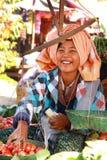 De markt van nyaung-U van handelactiviteiten, Myanmar. Royalty-vrije Stock Foto's