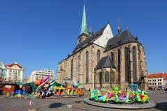 De markt van Pasen in de stad Pilsen. Stock Afbeeldingen
