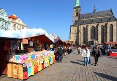De markt van Pasen in de stad Pilsen. Stock Afbeelding