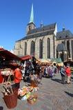 De markt van Pasen in de stad Pilsen. Stock Foto's