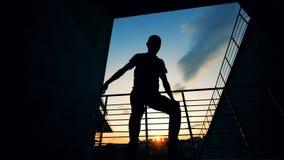 De Markt van de Staat van Skateboarder silhouette De tienerschaatser heft zijn raad op een zonsondergangachtergrond op stock video