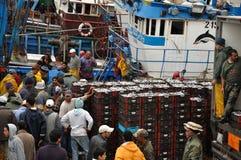 De markt van vissen in Essaouria, Marokko Royalty-vrije Stock Foto