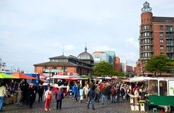 De markt van vissen in Hamburg Royalty-vrije Stock Afbeeldingen