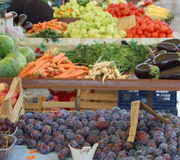 De markt van vruchten en van groenten Royalty-vrije Stock Afbeeldingen