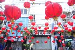 De markten stemden in met het Chinese Nieuwjaar in Semarang Royalty-vrije Stock Foto's