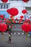 De markten stemden in met het Chinese Nieuwjaar in Semarang Stock Foto's