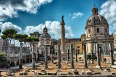 De markten van het Trajanforum complex in Rome stock foto