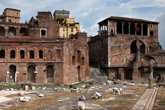 De Markten van Trajan in Rome, Italië Stock Foto's