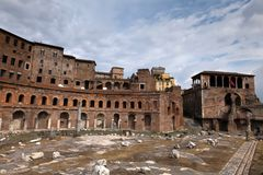De Markten van Trajan in Rome, Italië Stock Afbeeldingen