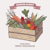 De marktetiket van kleurenlandbouwers met groenten in houten krat royalty-vrije illustratie