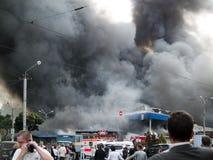 De marktexplosie van Slavyansky in Dnipropetrovsk Royalty-vrije Stock Foto's