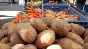 De marktkraam van het landbouwers` voedsel met verscheidenheid van organische groente stock videobeelden