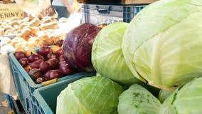 De marktkraam van het landbouwers` voedsel met verscheidenheid van organische groente stock footage