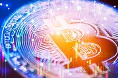 De markttendensgrafiek van de Bitcoinvoorraad Financieel voorraad en Handelsinvesteringen handelconcept Van geldmunt en cryptocur royalty-vrije stock foto's