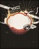 De markttent van het theater met de voorwerpen van het filmthema vector illustratie
