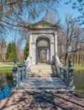 De Marmeren Brug in Catherine Park in Tsarskoye Selo Stock Foto