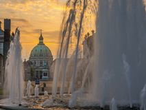 De Marmeren Kerk, fontein, Kopenhagen, Denemarken, Scandinavië, N stock foto's