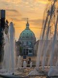 De Marmeren Kerk, fontein, Kopenhagen, Denemarken, Scandinavië, N royalty-vrije stock afbeeldingen