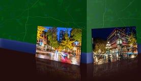 De marmeren muur is een panoramische foto van een nacht op de straat in royalty-vrije illustratie