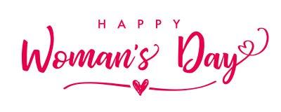 8 de marzo bandera elegante de las letras del día de la mujer feliz stock de ilustración