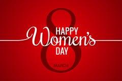 8 de marzo bandera Línea para mujer del día en fondo rojo