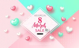 8 de marzo bandera para mujer feliz de la venta del día Fondo hermoso con los corazones Vector el ejemplo para el sitio web, cart stock de ilustración