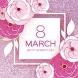 8 de marzo blanco rosado Día feliz del ` s de la madre del ` s de las mujeres Tarjeta de felicitación floral Corte Rose Flowers d Fotografía de archivo