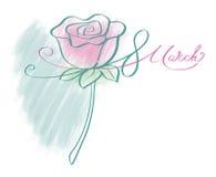 8 de marzo caligrafía de la tarjeta de felicitación del día del ` s de las mujeres Imagen de archivo libre de regalías