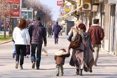 22 de marzo de 2009 calles novy de la triste-Serbia-ciudad en la ciudad de Novy Foto de archivo libre de regalías