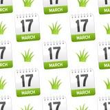 17 de marzo con el modelo inconsútil de la hierba stock de ilustración