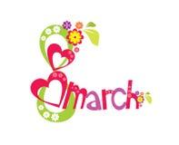 8 de marzo con la tarjeta del día de las flores y de las mujeres del corazón en el fondo blanco - ejemplo Imagenes de archivo
