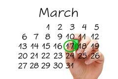 17 de marzo concepto del calendario del día de Patricks del santo Fotos de archivo