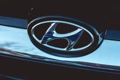 14 de marzo de 2018, corcho, Irlanda - detalle del logotipo de Hyundai Fotografía de archivo