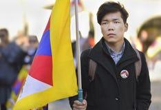 10 de marzo día 2017 de la sublevación en Tíbet, Berna Suiza Imagenes de archivo