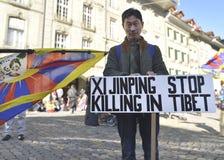 10 de marzo día 2017 de la sublevación en Tíbet, Berna Suiza Foto de archivo libre de regalías