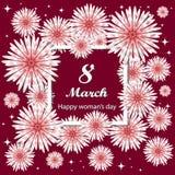 8 de marzo Día del `s de la madre Tarjeta de felicitaciones del día de las mujeres Ramo floral libre illustration