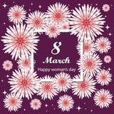 8 de marzo Día del `s de la madre Tarjeta de felicitaciones del día de las mujeres stock de ilustración