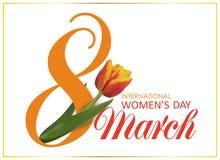 8 de marzo Día feliz internacional del ` s de las mujeres diseñe la plantilla con el número 8 y el día de fiesta hermoso rosado d Imagenes de archivo