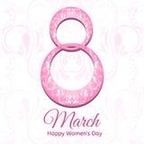 8 de marzo, día internacional del ` s de las mujeres, diseño de la tarjeta de felicitación Fotografía de archivo