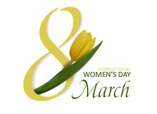 8 de marzo Día internacional del ` s de las mujeres Día feliz del ` s de las mujeres Flor de la primavera, tulipán hermoso rosado Fotos de archivo libres de regalías