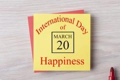 20 de marzo día internacional de felicidad Imagenes de archivo