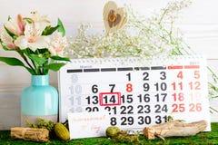 14 de marzo, día internacional de pi en calendario Foto de archivo libre de regalías